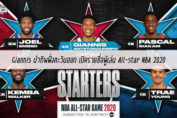 Giannis นำทัพฝั่งตะวันออก เปิดรายชื่อผู้เล่น All-star NBA 2020