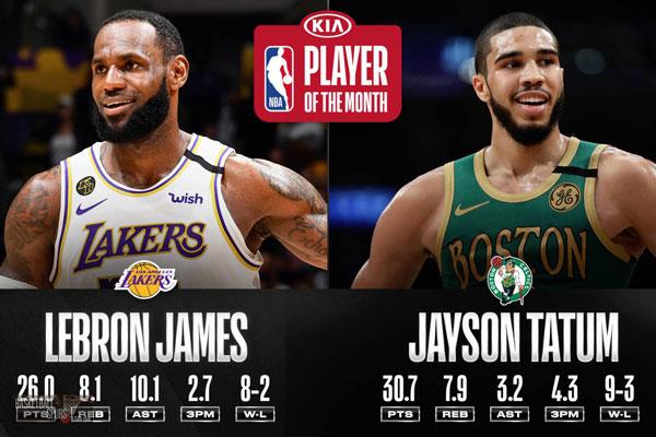 """กัปตันและลูกทีม! """"เลบรอน"""" พา """"เททัม"""" เป็นผู้เล่นยอดเยี่ยมประจำเดือน กุมภาพันธ์ ของ NBA"""